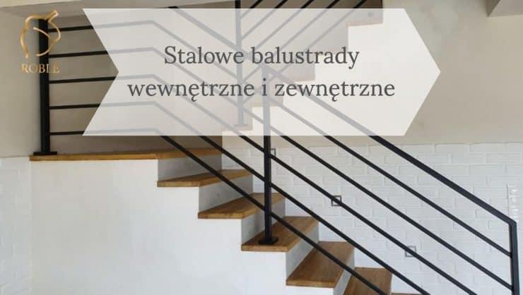 balustrada stalowa i schody drewniane
