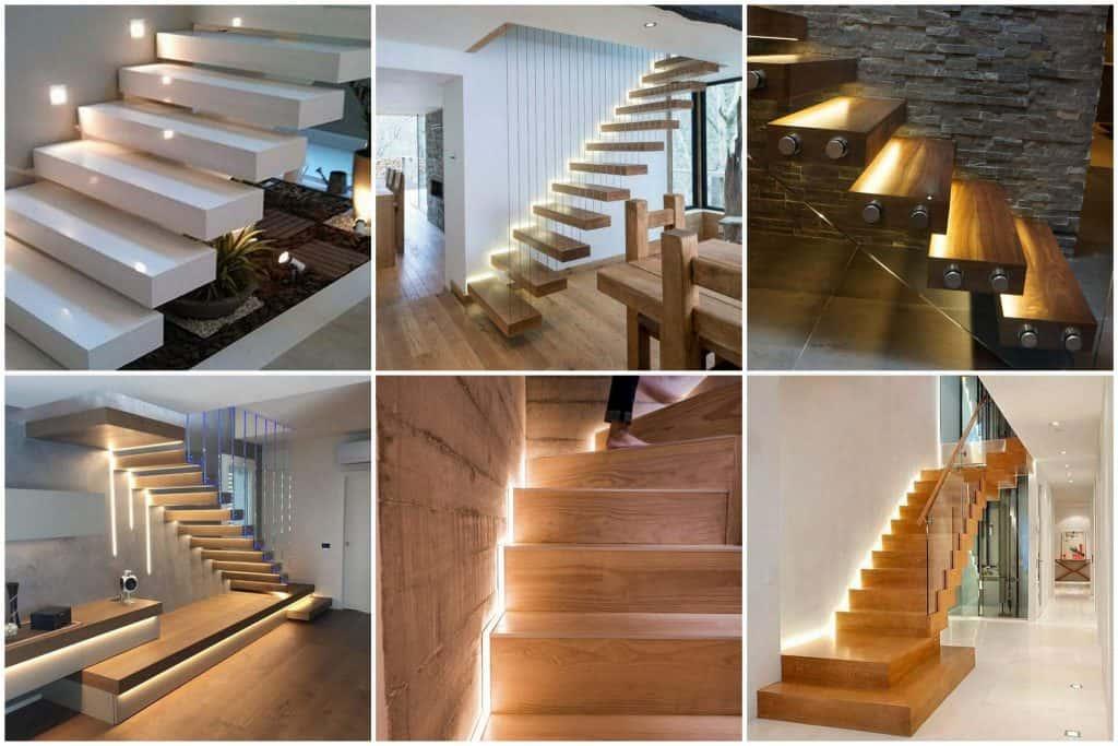 oświetlenie schodów drewnianych