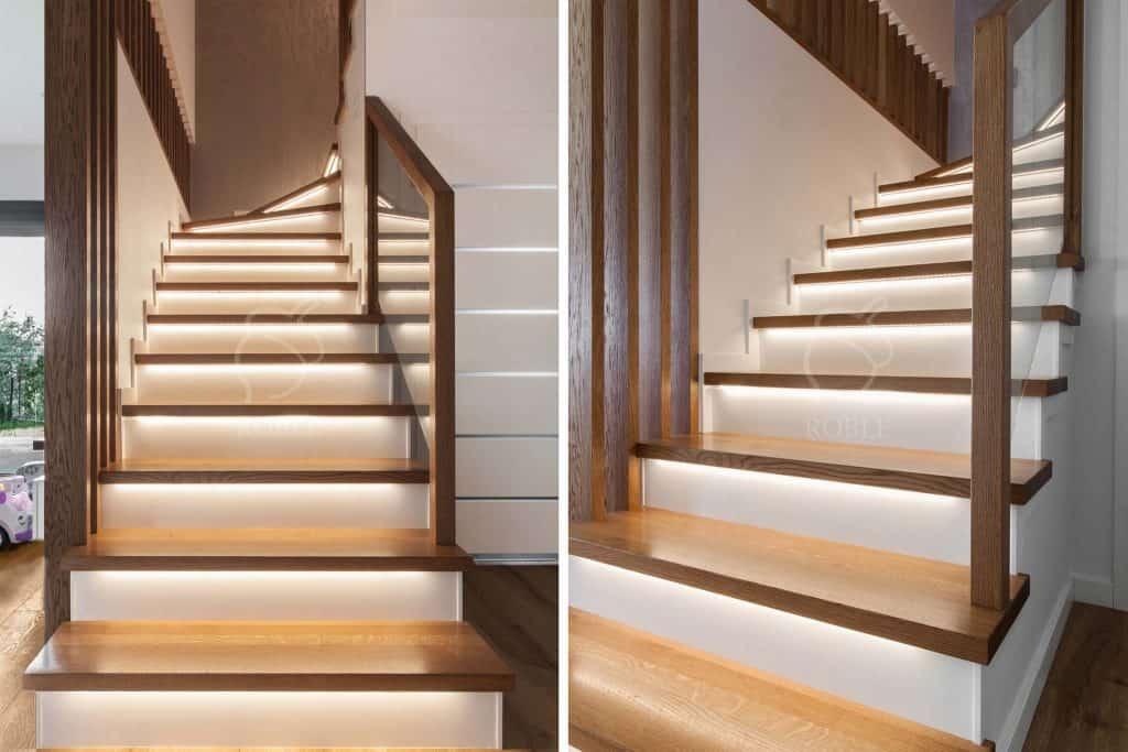 schody drewniane z białymi podstopniami mdf