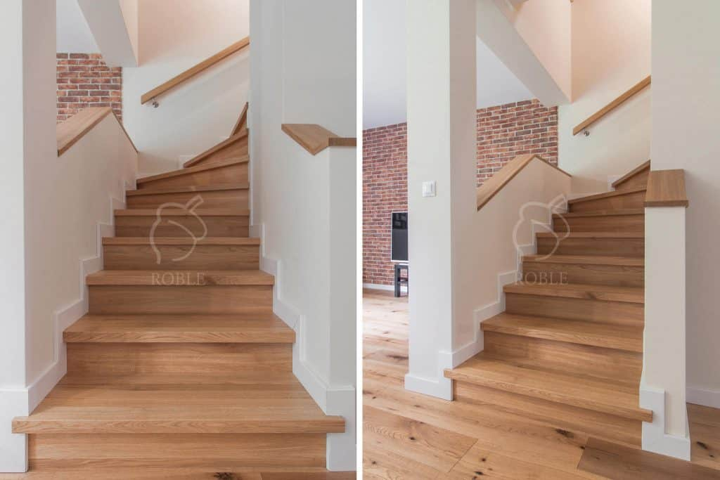 schody dębowe na beton jasne